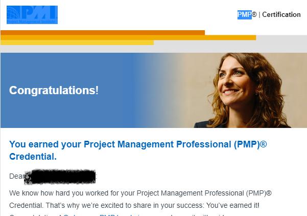 PMP試験合格通知メール